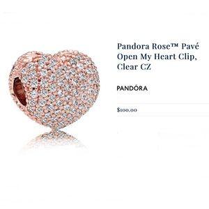 Pandora Rose Pave Open My Heart Clip